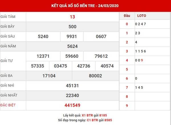 Thống kê loto đẹp XS Bến Tre thứ 3 ngày 31-3-2020