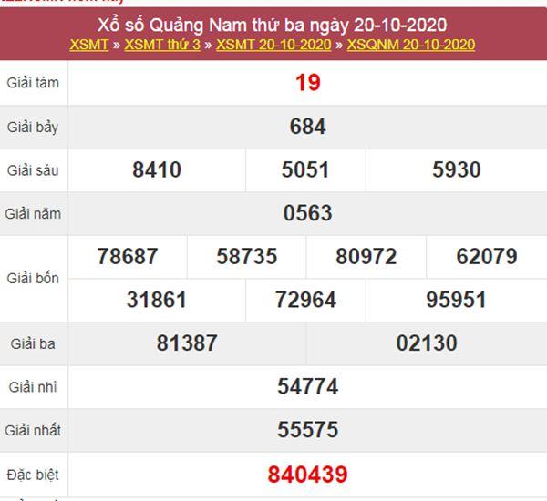 Thống kê XSQNM 27/10/2020 chốt lô VIP Quảng Nam thứ 3
