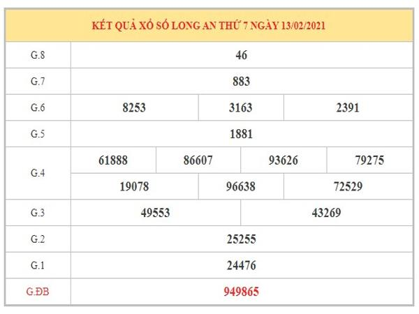 Thống kê KQXSLA ngày 20/2/2021 dựa trên kết quả kỳ trước